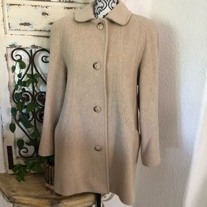 Cabin creek vintage wool blend cream trench coat